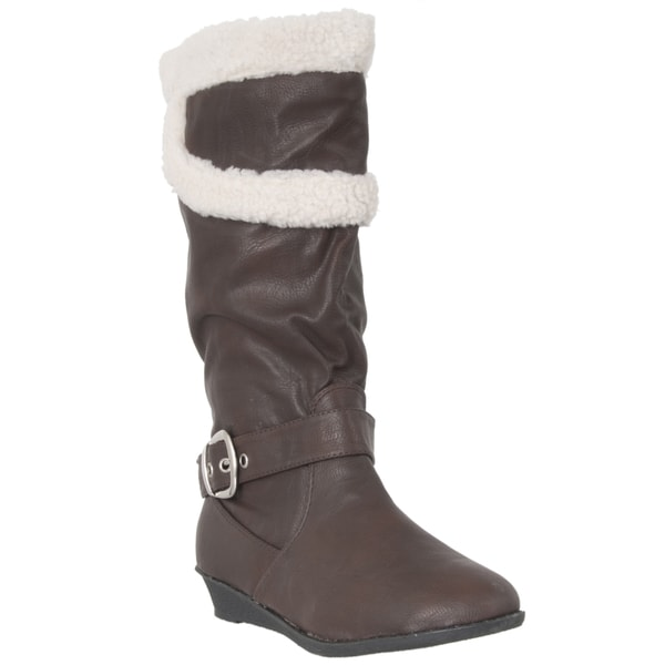 Riverberry Women's Brown Faux Shearling Mid-calf Boots
