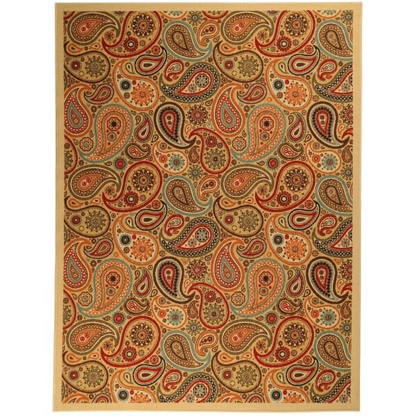 Ottomanson Printed Ottohome Paisley Beige Rug (3'3 x 4'6)