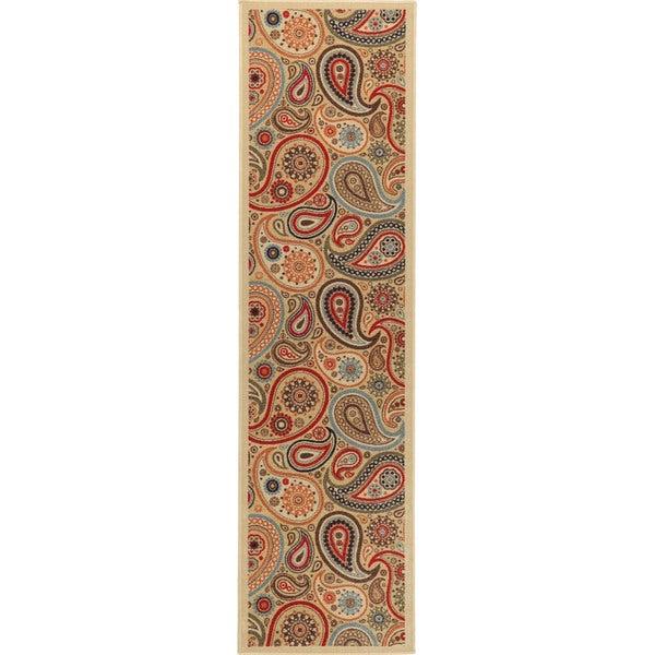 Ottomanson Printed Ottohome Paisley Beige Runner Rug (2' x 7')
