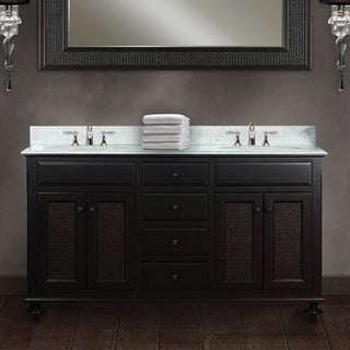 Water Creation London 60-inch Dark Espresso Double Sink Bathroom Vanity