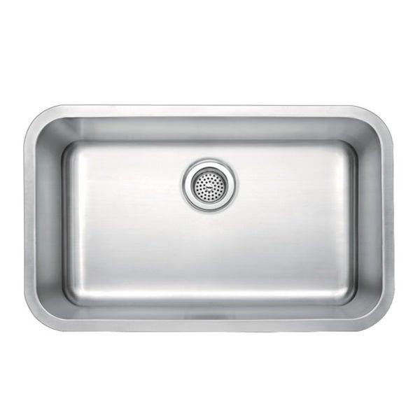 """Water Creation 30"""" X 18"""" Undermount Single Bowl Stainless Steel Kitchen Sink"""