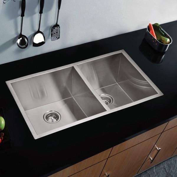 Water Creation 33-inch X 20-inch Zero Radius 60/40 Double Bowl Stainless Steel Hand Made Undermount Kitchen Sink