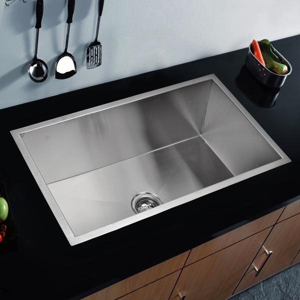 Water Creation 33-inch X 19-inch Zero Radius Single Bowl Stainless Steel Hand Made Undermount Kitchen Sink