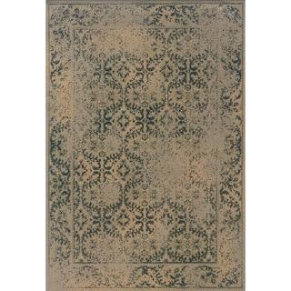 Indoor Beige and Blue Area Rug