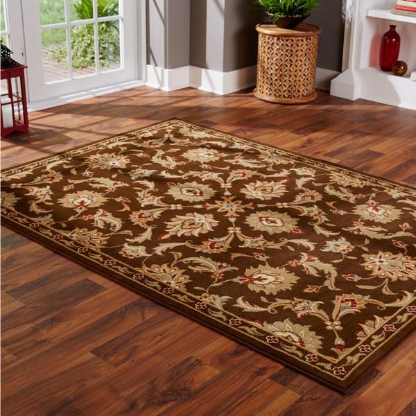 Indoor Brown and Green Oriental Area Rug