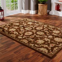 StyleHaven Brown/Green Synthetic Oriental Indoor Area Rug