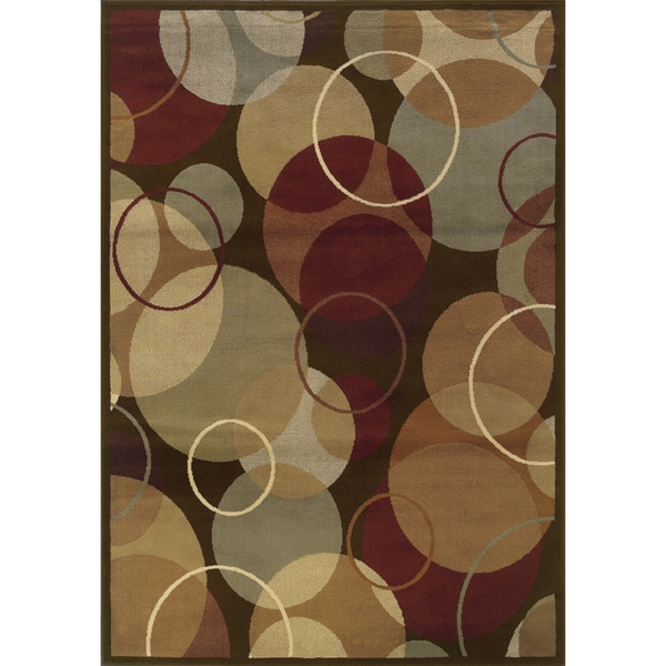 Brown and Gold Geometric Indoor Area Rug