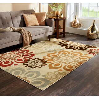 Indoor Beige and Rust Area Rug