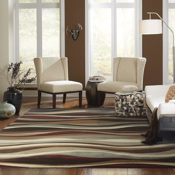 Indoor Brown and Green Area Rug