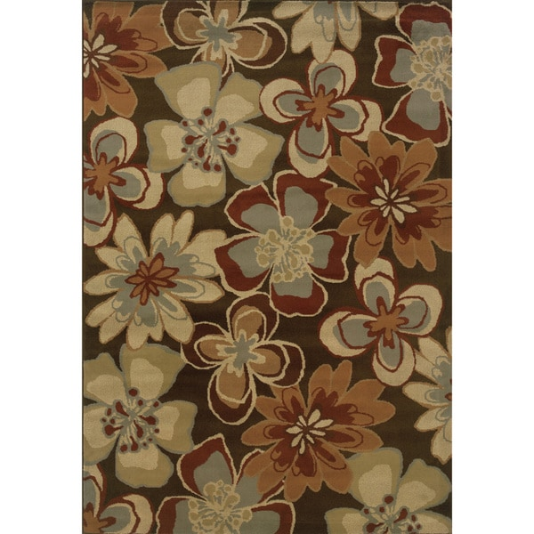 StyleHaven Oriental Brown and Gold Floral Area Rug