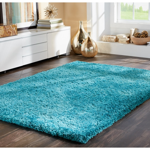 Indoor Teal Shag Area Rug Free Shipping Today