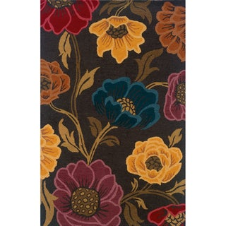 Hand-tufted Indoor Grey and Gold Wool Area Rug