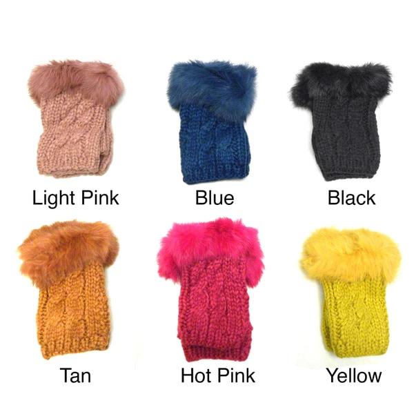 KC Signatures Women's Faux Fur Fingerless Gloves