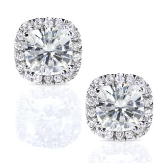 Annello by Kobelli 14k White Gold 2 1/2ct TGW Cushion Moissanite and Diamond Halo Stud Earrings
