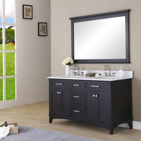Manhattan 60-inch Dark Espresso Double Sink Bathroom Vanity