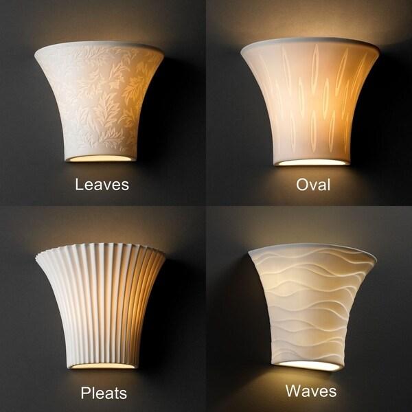 Justice Design Group 1-light Round Flared Translucent Porcelain Wall Sconce