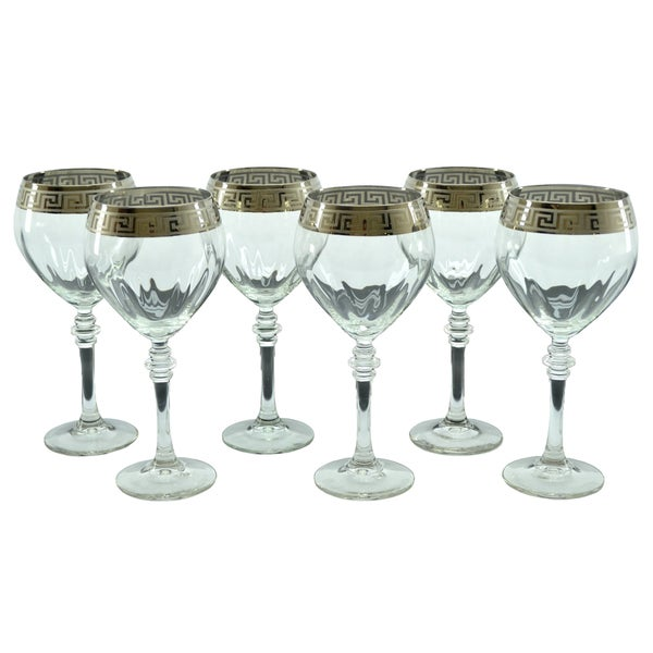 Silver Accented Italian Red Wine Glasses (Set of 6) Threestar