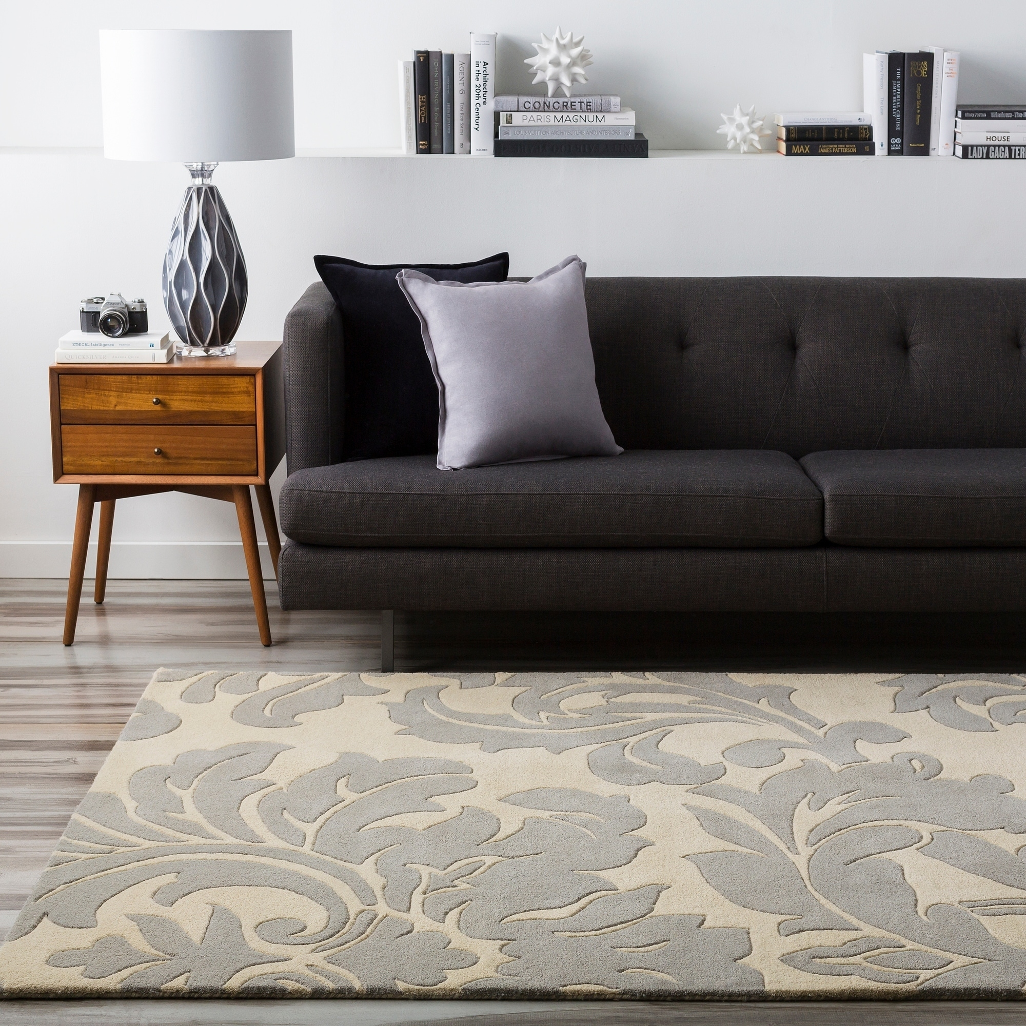 Hand-tufted Balikesir Bay Leaf Wool Rug (5' x 8'), Beige,...