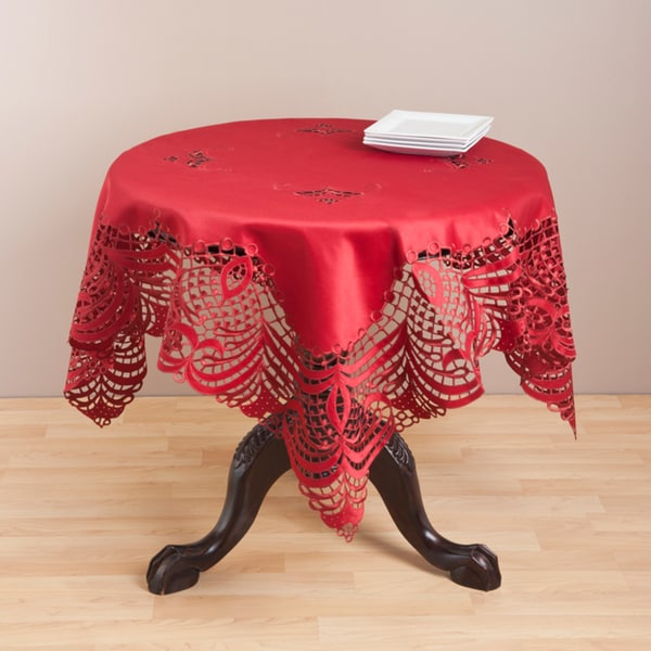 Embroidered Burgundy Cutwork Table Topper
