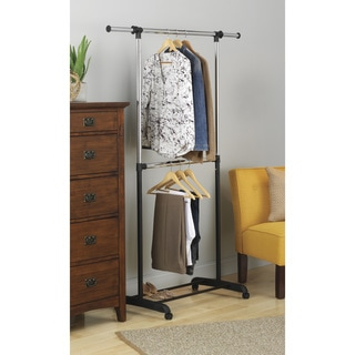 Whitmor 6021-3081 Adjustable Steel 2-rod Garment Rack