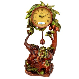 Antique Style Elephant Table Clock