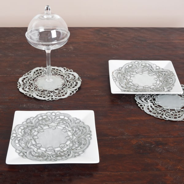 Round Embroidered Grey Cutwork Doilies (Set of 12)
