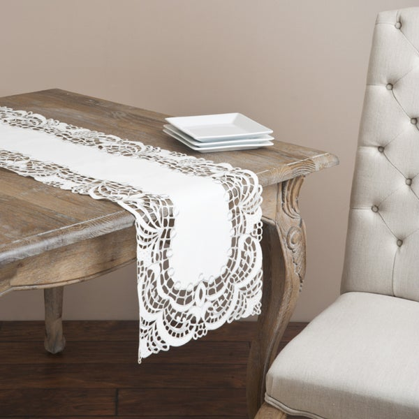 Saro Ivory Embroidered Table Runner