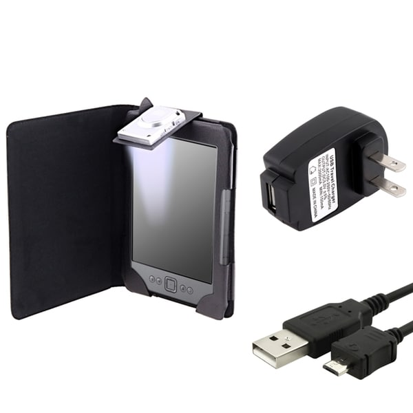 INSTEN Leather Phone Case Cover with Light/ USB Cable/ Charger for Amazon Kindle 4