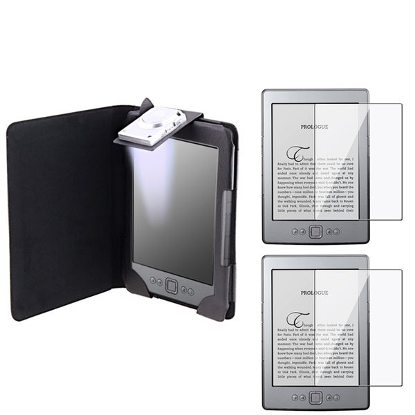 INSTEN Leather Phone Case Cover with Light/ LCD Protectors for Amazon Kindle 4