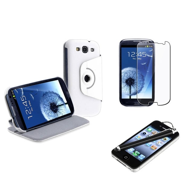 BasAcc Leather Case/ Protector/ Stylus for Samsung Galaxy S3/ S III