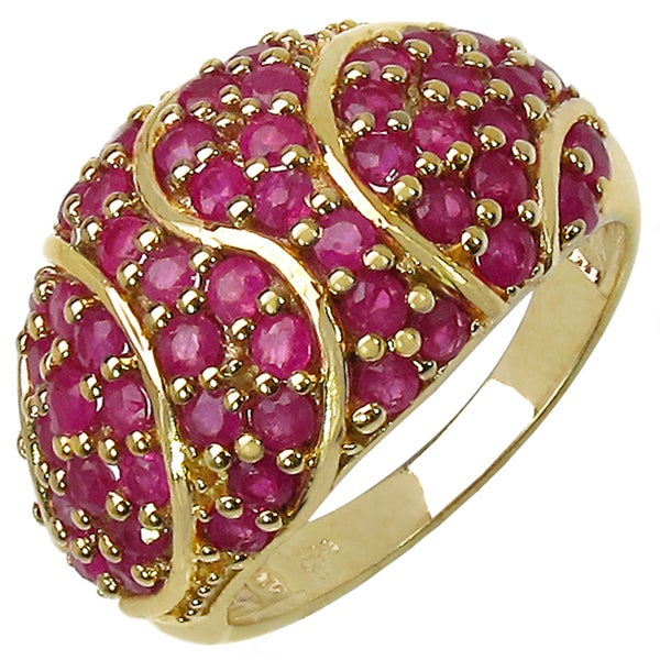 Malaika Gold over Silver 2 3/4ct TGW Ruby Ring