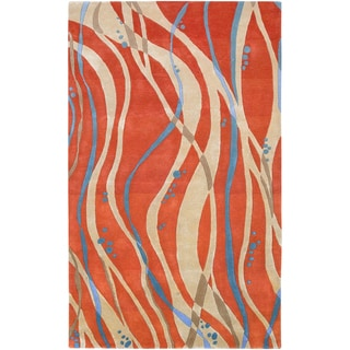 Hand-tufted Sprint Tangerine Abstract Design Wool Rug (5' x 8')