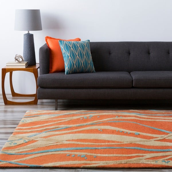 Hand-tufted Sprint Tangerine Abstract Design Wool Area Rug - 5' x 8'