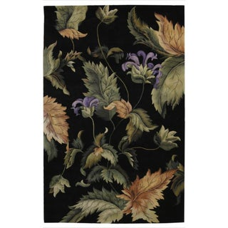 Hand-Tufted Tropical Black Wool Rug