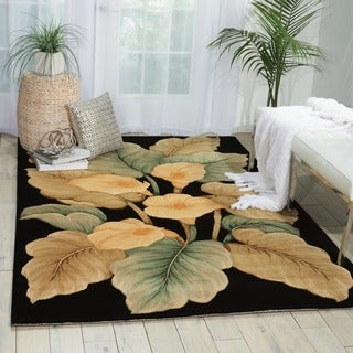 Shop Hand Tufted Tropical Black Wool Rug Free Shipping