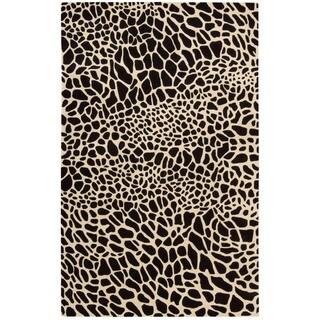 Skyland Black Animal Print Wool Rug