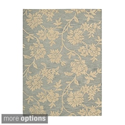 Skyland All-over Raised Flora Beige Wool Rug