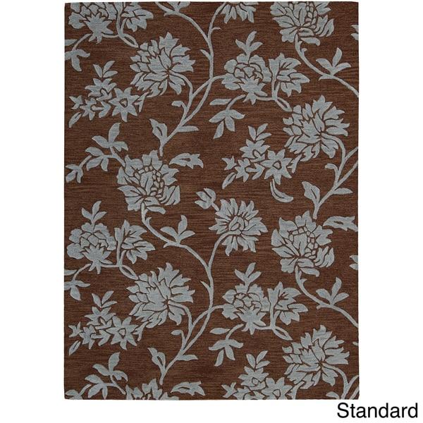 Skyland All-over Raised Flora Brown Wool Rug