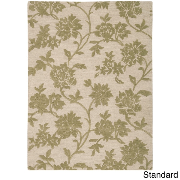 Skyland All-over Floral Print Beige Wool Rug
