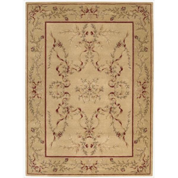 Ashton House Light Gold Classical Motif Wool Rug