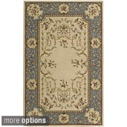 Ashton House Beige and Blue Classical Motif Wool Rug
