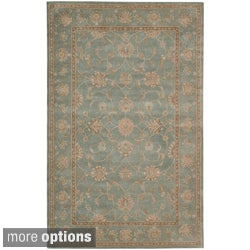 Traditional Hand-Tufted Heritage Hall Aqua Wool Rug