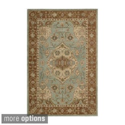 Hand-tufted Heritage Hall Aqua Wool Rug