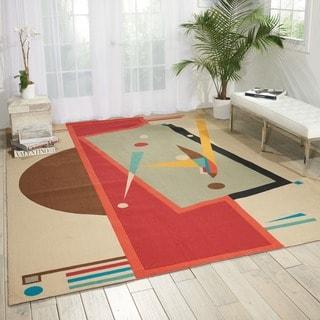 Modern Art Sand/ Multi Polyester Rug