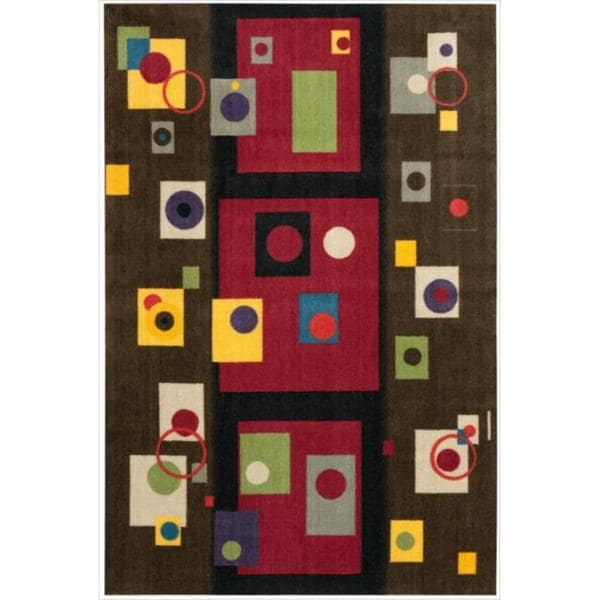 Modern Art Brown Multi Polyester Rug 15006047