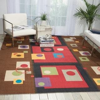 Modern Art Brown/ Multi Polyester Rug (Brown - 5 x 7)