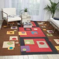 Modern Art Brown/ Multi Polyester Rug