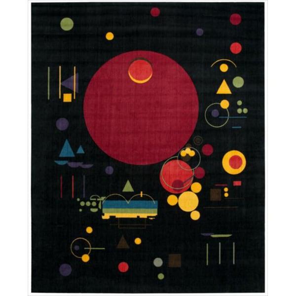 Modern Art Black Polyester Rug