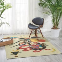 Modern Art Beige Polyester Rug