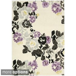 Hand-tufted Wildflower Ivory/ Lilac Wool Blend Rug (More options available)